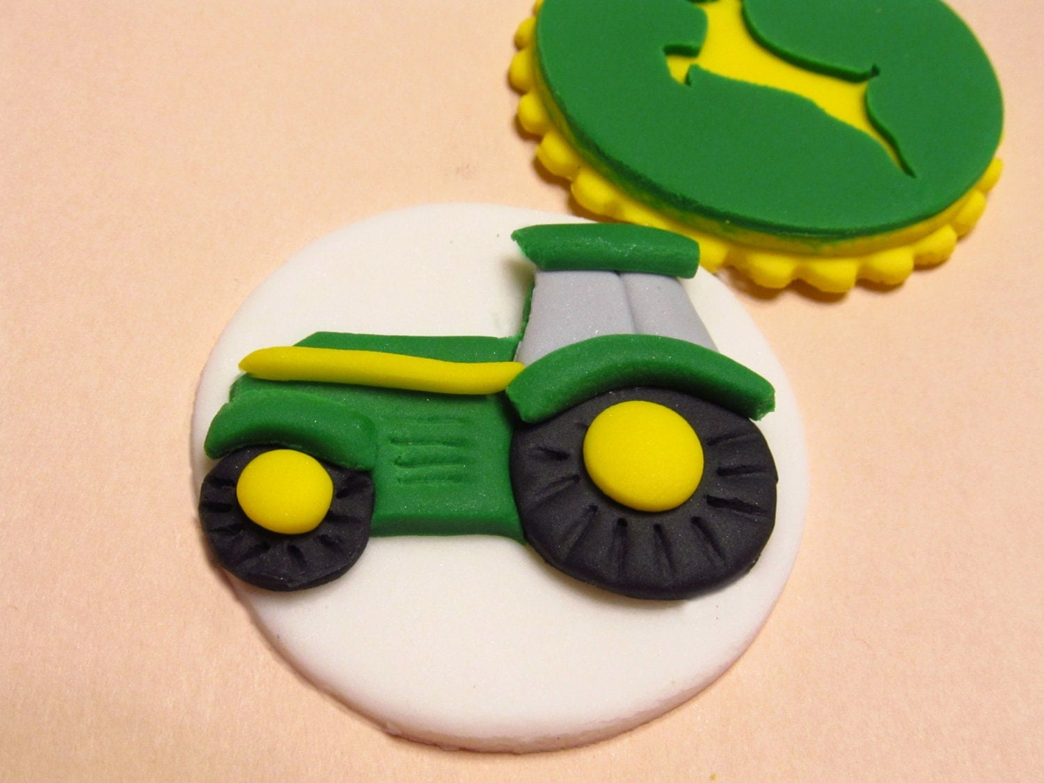 Tractor Cupcake Toppers Fondant Yellow and Green by