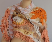SALE 30% OFF Lace Chunky  Freeform Crochet  Shawl / Wearable Art / OOAK