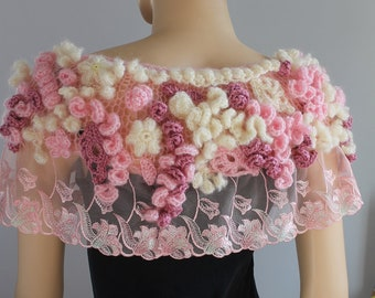 Sakura Blossom - Unique Bohemian Freeform Crochet Capelet - Wedding Shrug - Wearable Art - OOAK