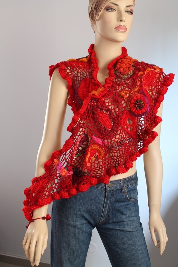 Reserved for Janice. Dance into the Fire/ Lace  Crochet Scarf Shawl / Wearable Art / OOAK