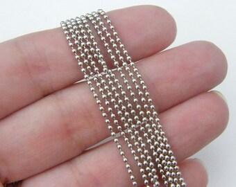 10m Ball chain 1.5mm silver tone