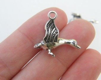 4 Goose charms antique silver tone B79