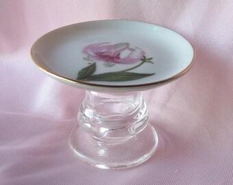 Vintage  Plate  Ring Holder/ Business Card Holder/ Trinket Holder /Soap Dish/Candle Holder/ Recycled