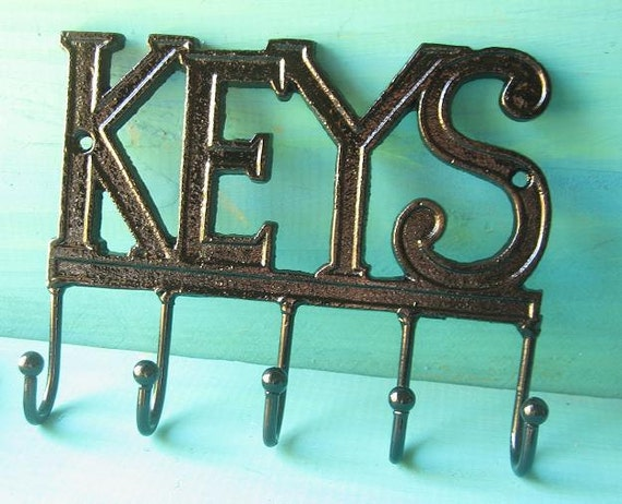 Cast Iron Key Wall Hanger  Hook  Rack Painted in Black