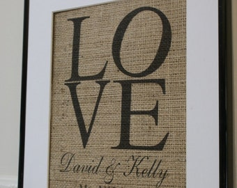 New...LOVE with first names... La Poste Burlap Announcements: Valentines Day, Engagements, Weddings, Anniversaries. Artwork only.