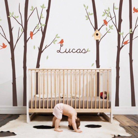 Tree Wall Decal with Leaves Birds & Personalized Name