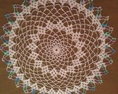 Delicate Pink Doily with Rainbow Edging