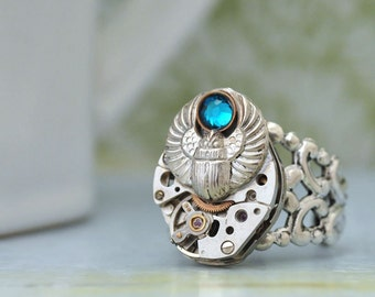 steampunk ring ANCIENT TIMES antique silver watch movement ring with scarab beetle and blue zircon rhinestone