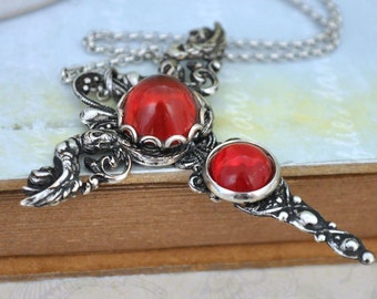 CROSS guardian angel cross pendant in antique silver with vintage ruby red color vintage glass cabs