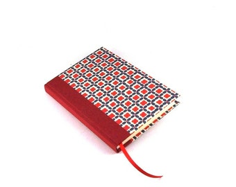 A6 hardcover Notebook Journal Diary, red blue happy squares