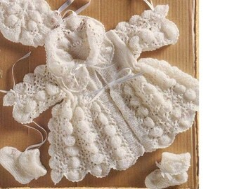 Baby KNITTING PATTERN -  Matinee Coat, Bonnet and Booties 0-3 months Pippy shell Download PDF