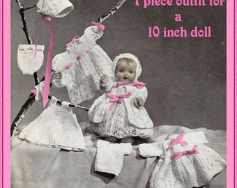 PDF Doll Knitting Pattern for Baby doll 7 piece Layette to fit 10 inch doll DOWNLOAD instantly