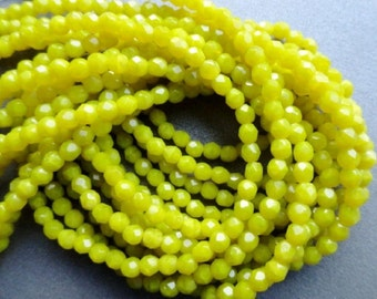4mm Fire Polished Beads - Chartreuse - Faceted Rounds -  Premium Czech Glass Beads