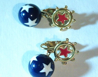 Vintage Red,White and Blue Star Earrings