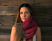 unisex infinity scarf. The Hawley-Green Cowl in Taupe and Berry