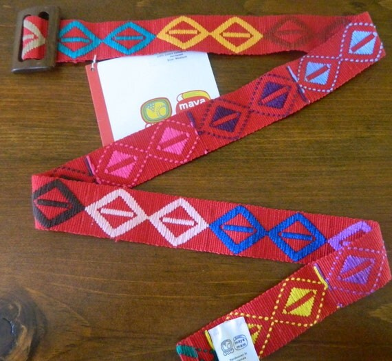 Hand woven Embroidered Belt on Red