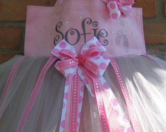 Pink Embroidered Dance Bag with Rhinestone ballet slippers