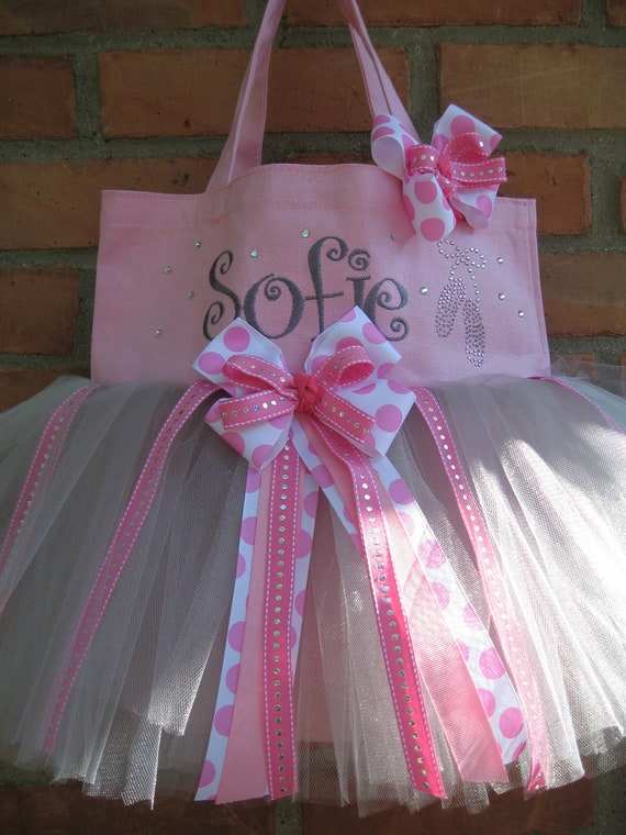 Pink Embroidered Dance Bag - Tutu Tote- ballet bag with Rhinestone ballet slippers, personalized tote.