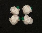 White Polymer Clay Rose Flower Beads 12mm