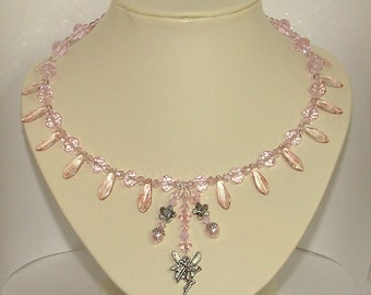 Pink Crystal and Glass Choker Necklace With Picasso Dagger Beads And Fairy Charm