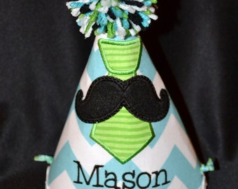 Moustache 1st Birthday Party Hat with Tie Boys Birthday Hat