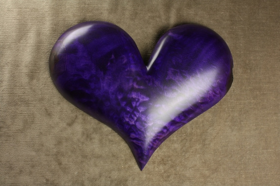 Valentines Day Gift Wood Carving, Purple Heart Ooak Wedding Gift for Her on etsy carved by Gary Burns the Treewiz, Handmade Woodworking