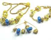 EUROPEAN Style JEWELRY SET, Blue Gold Necklace Bracelet Earrings Blue European style Beads Blue Euro Beads Gold Filled