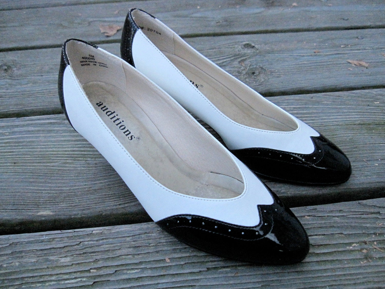 on sale black and white spectator shoes womens pumps
