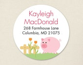 Pig Address Labels / Barnyard Address Labels / Farm Address Labels - Sheet of 24