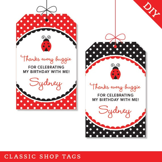Ladybug Party - Personalized DIY printable favor tags