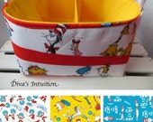 Adjustable Diaper Caddy, Fabric organizer bin with adjustable dividers 10 x 10 x 6 Dr Seuss