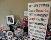 Custom Typography Word Art, Home Sign, Subway Sign, Family Rules. 12 X 24 inches. Memories, Phrases & Quotes, Wedding Song, Vows.