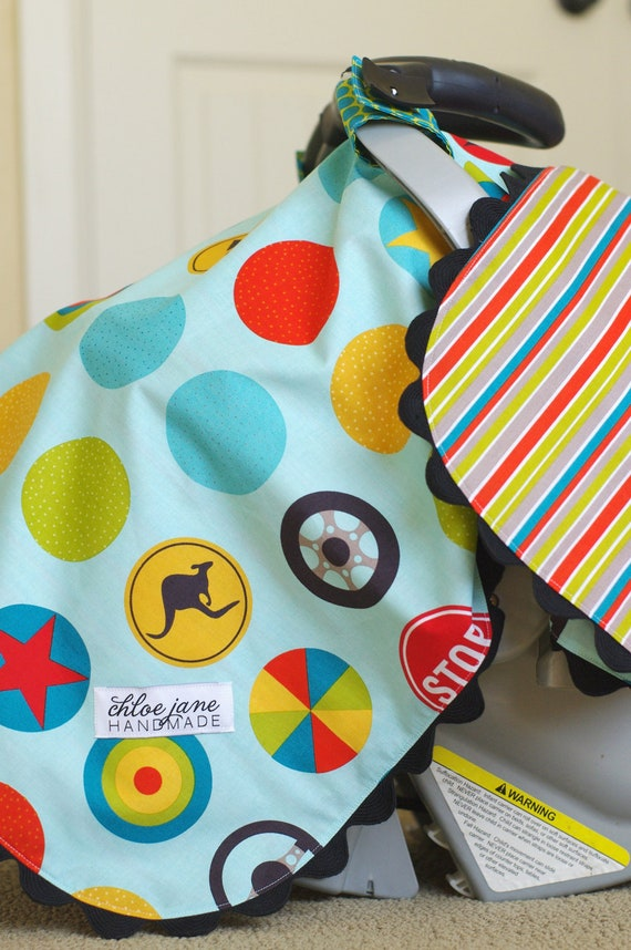 NEW- Boy's Car Seat Cover/Tent/Canopy, Bright and Fun (Peak Hour)