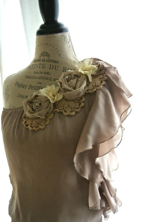 Shabby one shoulder ruffle shirt, cottage chic, womens clothing, rose embellished, romantic  top, french country