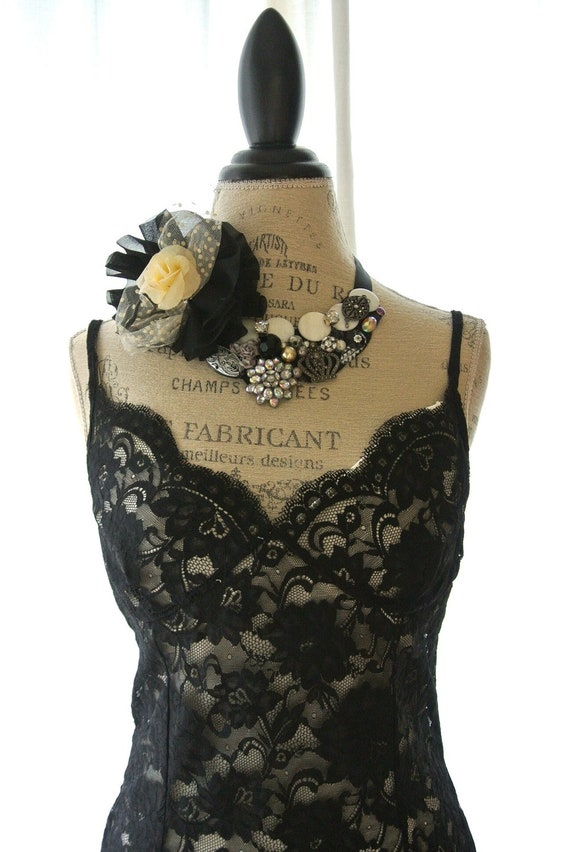 Black lace tank top, shabby ruffle camisole, cottage chic clothing, romantic lace shirt, womens clothing, fall, autumn clothing