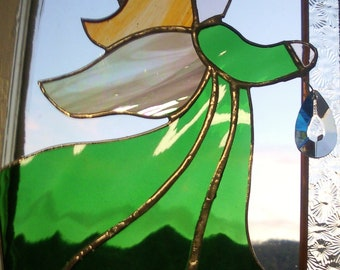 Emerald Green Angel Stained Glass Crystal Pendant