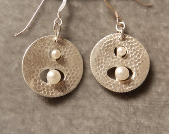 Fine Silver Disc Earrings with Floating Pearls
