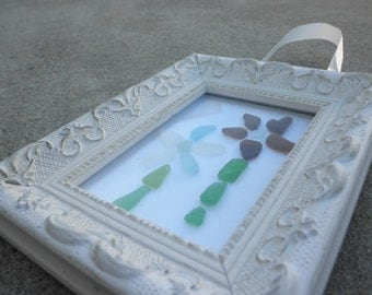 Lake Flower Beach Glass Picture Frame