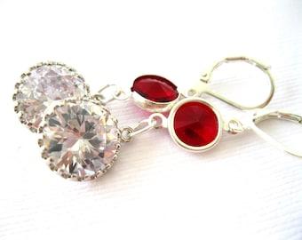 Sparkling CZ and Swarovski Ruby crystal Earrings, Holiday Handmade Jewelry, Handmade drop Earrings,Silver plated