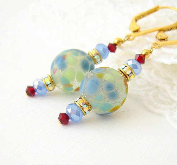 Blue and Green Lampwork  Earrings & Swarovski CONFETTI crystal dangle Earrings, Handmade Jewelry, Handmade Earrings,