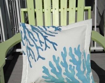 "Outdoor pillow TWO CORALS BLUE 20"" (50cm) painted coastal ocean shelling skindiving aquarium Crabby Chris Original"