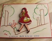 Hand painted Vintage Red Riding Hood - Wooden Nursery Art