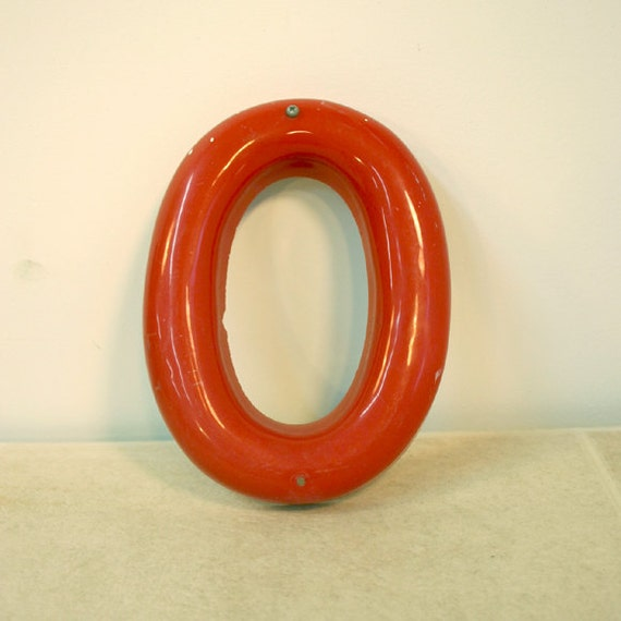 Vintage Sign Letter O  / Large Red Marquee Letter O