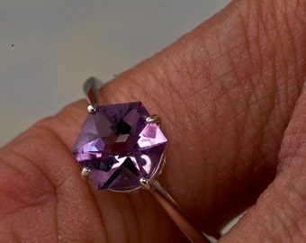 Amethyst Star Cut Unique Engagement Ring, February birthstone ring, Alternative engagement ring, 6th Anniversary Gift