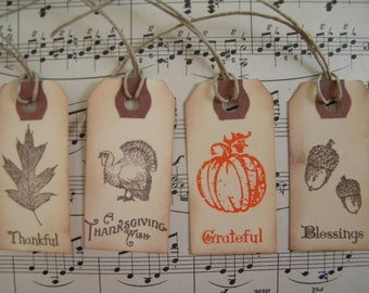 Assorted Thanksgiving / Fall Mini Tags ... set of 12