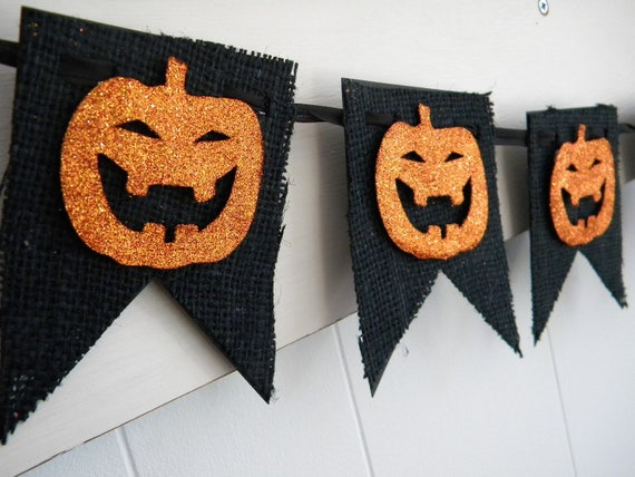 Burlap halloween banner black and orange by Vintage halloween decorations uk