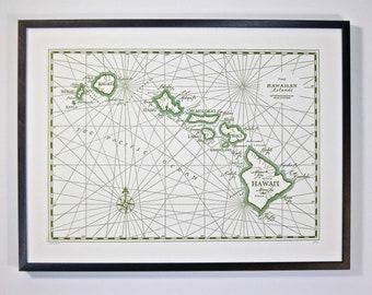 Hawaiian Islands, Letterpress printed Map (Olive Green)