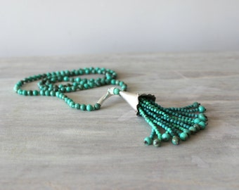 Sterling Silver Tassel Necklace With Turquoise Stones