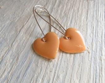 Heart Earrings, Peach Enamel Charms on Kidney Ear Wires, Dangle Earrings, Enamel Jewelry, Pastel Jewelry, Geometric Earrings, Pastel Goth
