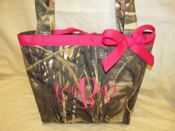 Camouflage purse, camo bag, choice of name or initials and color camo purses